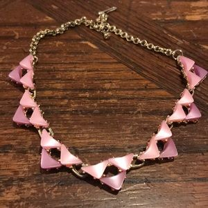 "Vintage pink thermoset 16"" necklace"